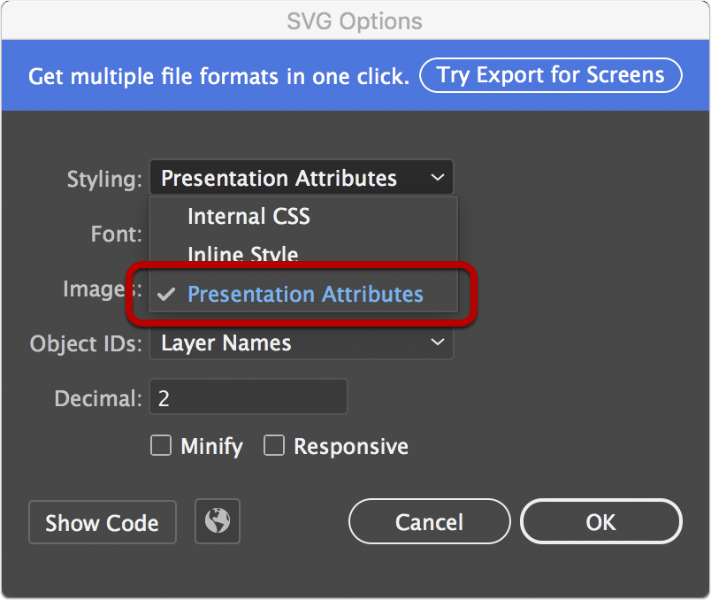 Exporting SVG files from Adobe Illustrator for use with